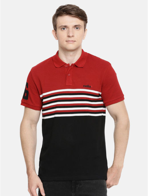 Red and Black Striped Polo T-Shirt