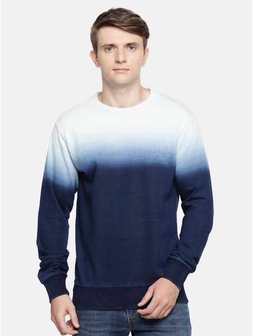 Indigo Colourblock Straight Fit Sweatshirt