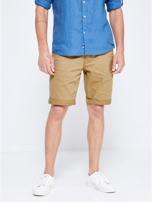 Tan Solid Shorts