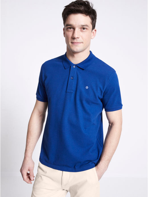 Blue Solid Straight Fit Polo T-Shirt