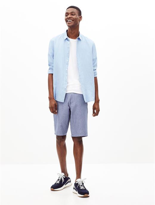 Blue Striped Regular Fit Shorts