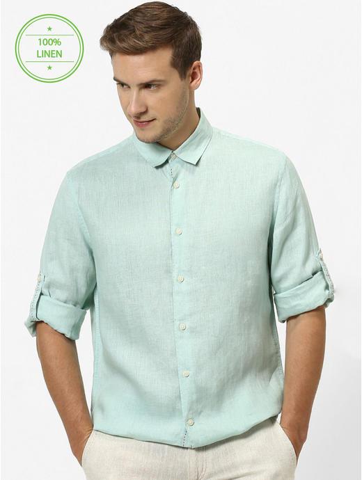Mint Green Solid Regular Fit Casual Shirt