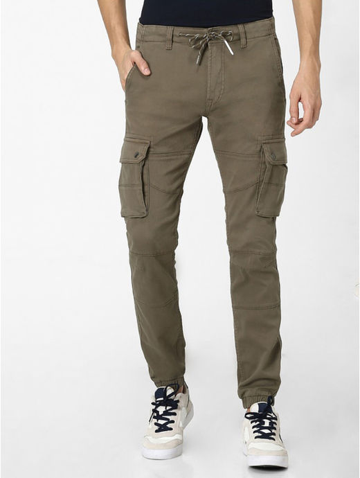 Beige Solid Slim Fit Casual Joggers