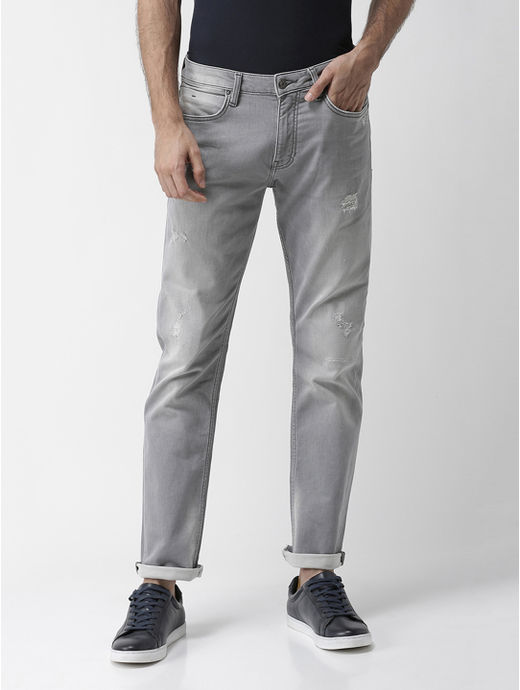 Grey Ripped Straight Slim Fit Jeans