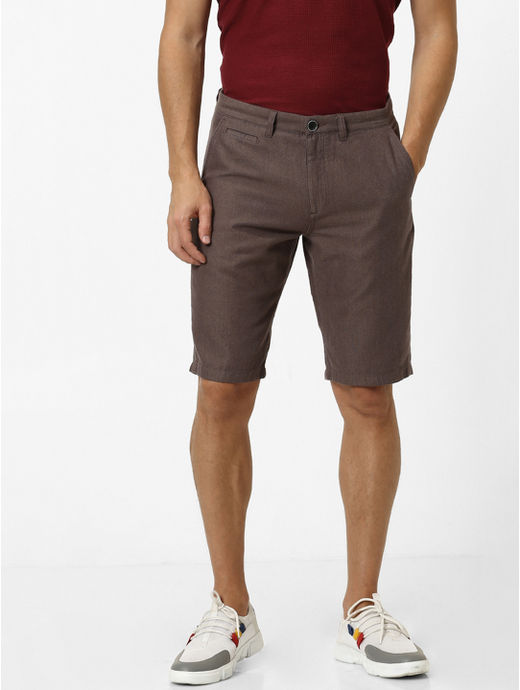 Coffee Brown Solid Shorts
