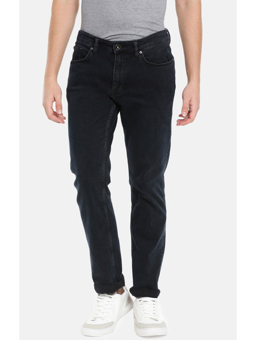 Blue Solid Straight Fit Jeans