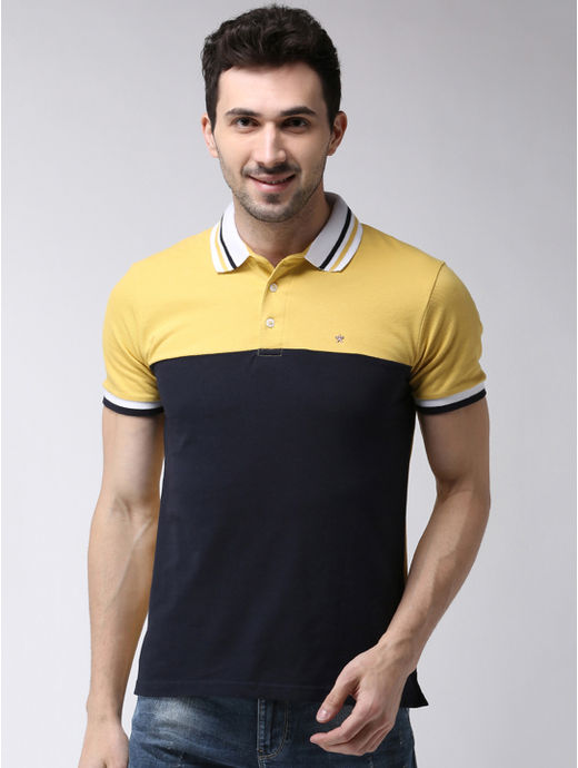 Yellow and Navy Colourblock Regular Fit Polo T-Shirt