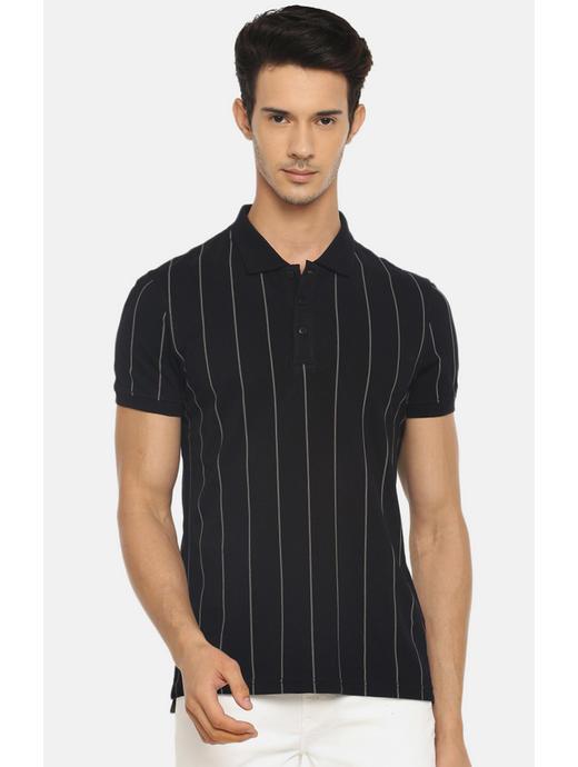Black Striped Polo T-Shirt