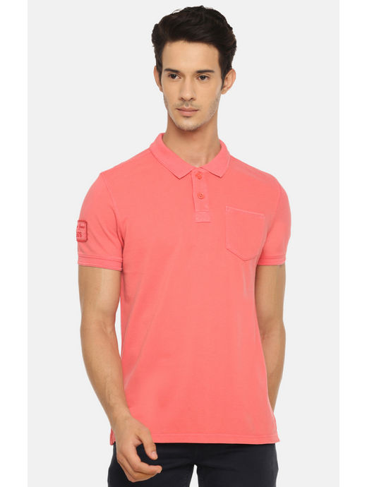 Peach Solid Polo T-Shirt