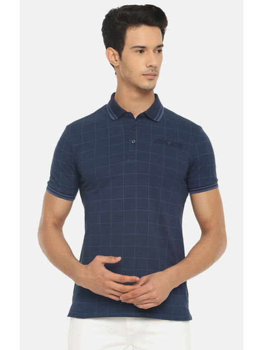 Blue Checked Polo T-Shirt
