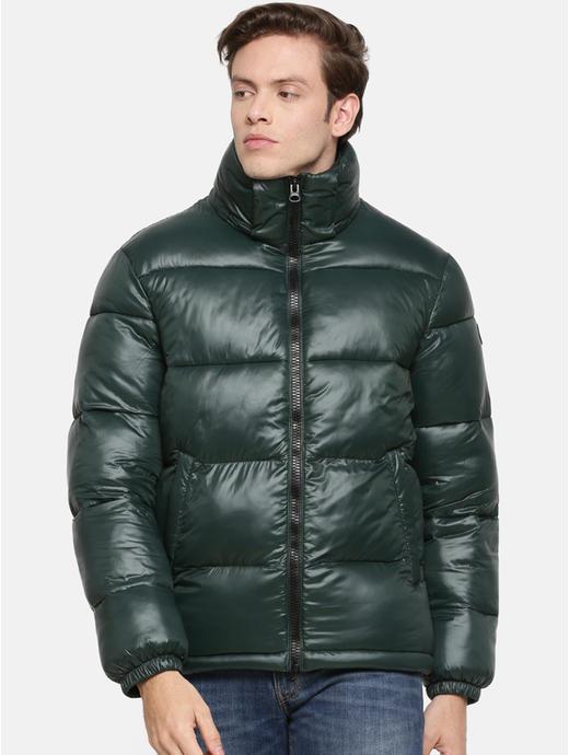 Green Solid Regular Fit Bomber Jacket
