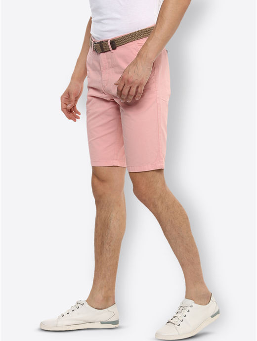 Pink Solid Shorts