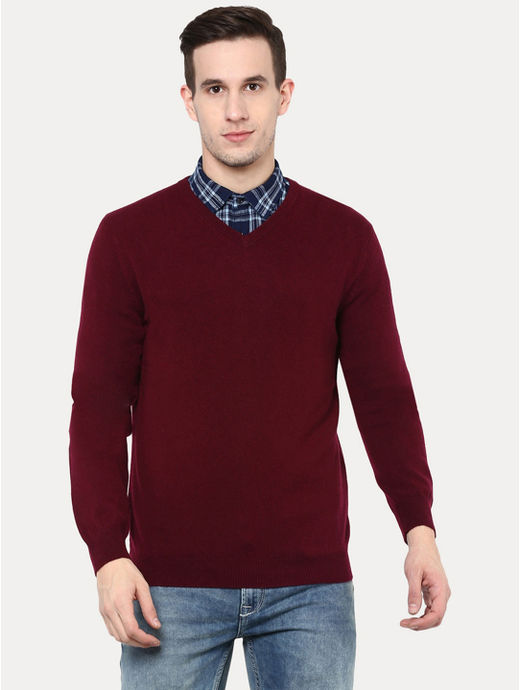 Burgundy Solid Sweater