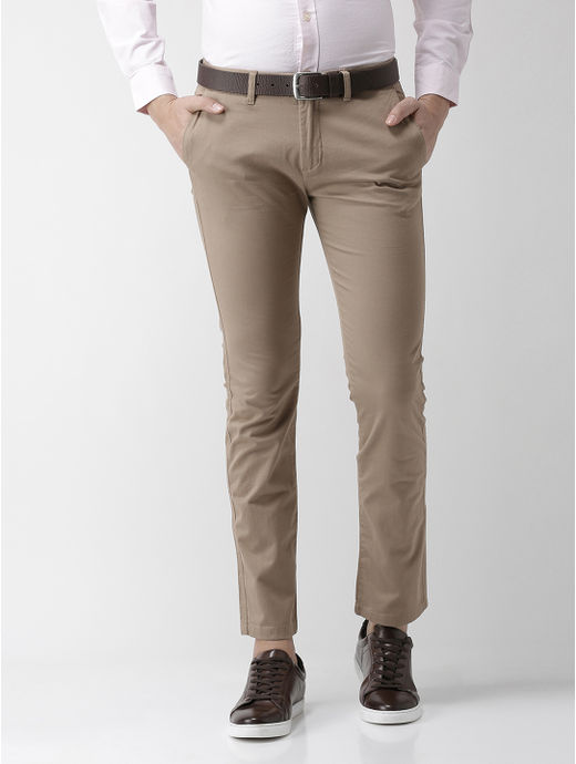 Light Solid Brown Straight Chinos