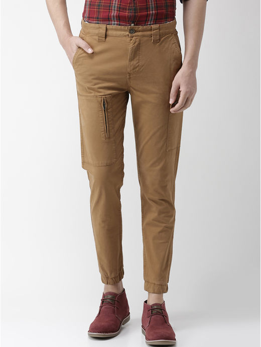 Tan Solid Casual Joggers
