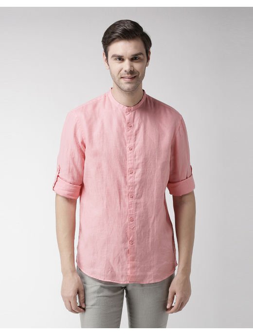 Coral Solid Casual Shirt