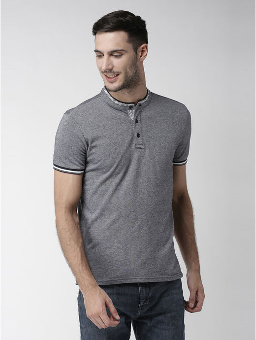 Navy Blue Solid Polo T-Shirt