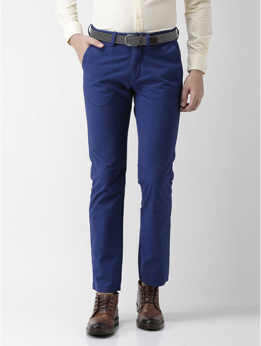 Indigo Solid Straight Chinos
