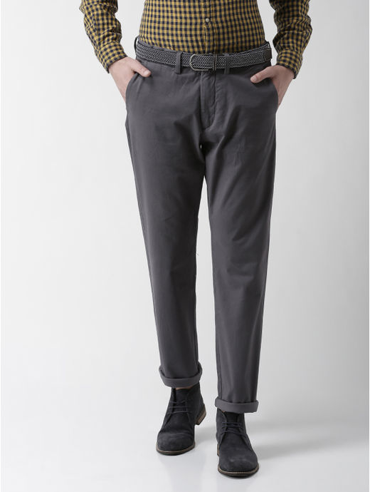 Stone Grey Solid Straight Chinos