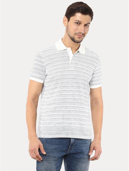 Off White Striped Polo T-Shirt
