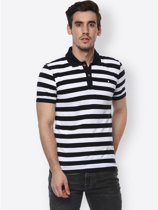 Optical White Striped Polo T-Shirt