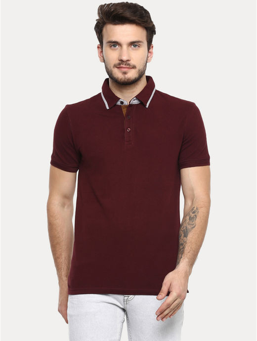 Burgundy Solid Polo T-Shirt