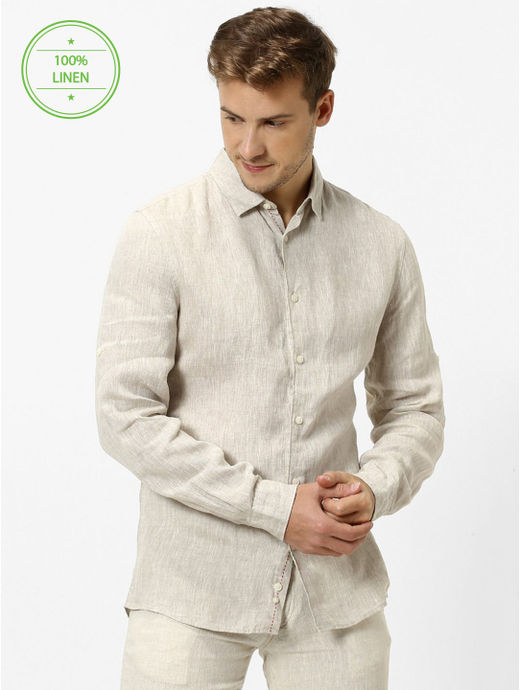 Off White Melange Regular Fit Casual Shirt