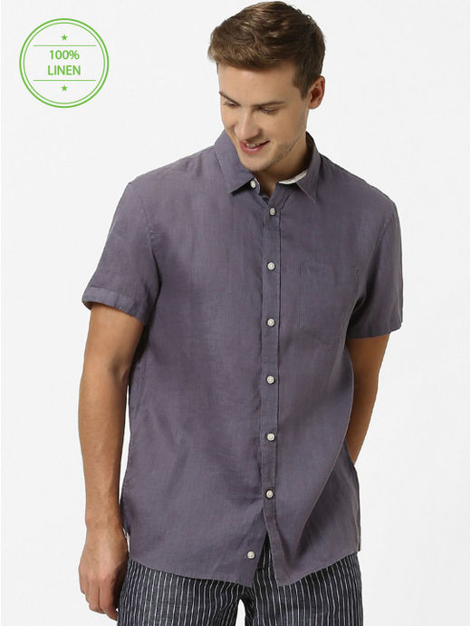 Steel Grey Solid Regular Fit Casual Shirt