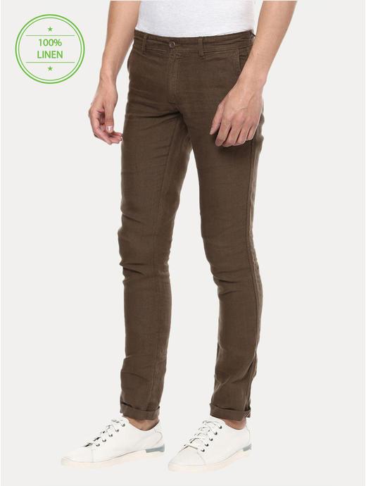 Brown 100% Linen Straight Pants