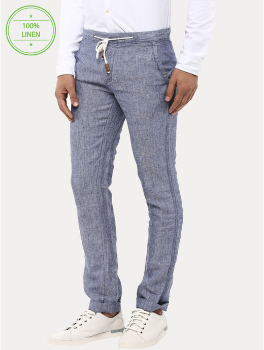 Blue 100% Linen Straight Pants