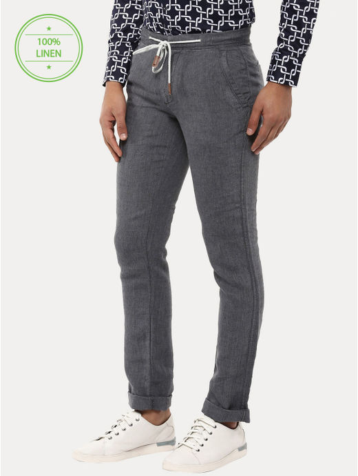 Grey 100% Linen Straight Pants