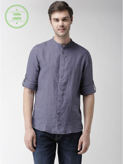 Steel Grey Solid Casual Shirt