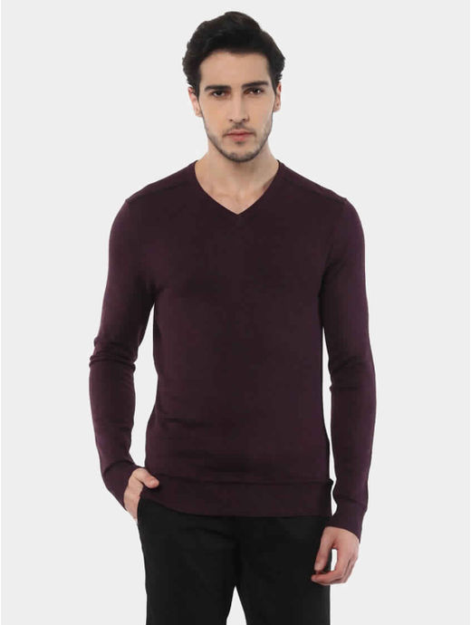 Jegivre Maroon Solid Sweater