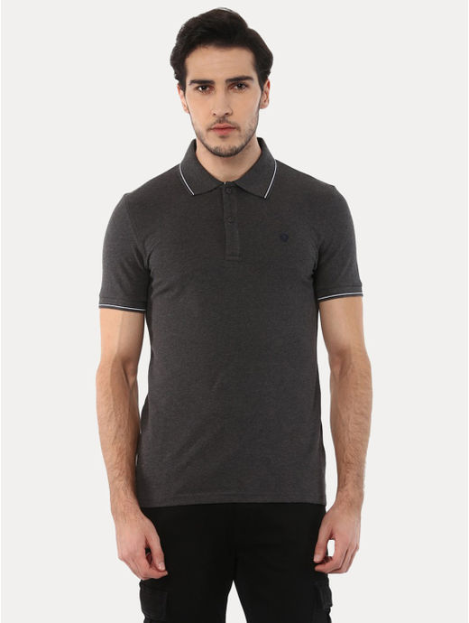 Lecolrayeb Dark Grey Solid Polo T-Shirt