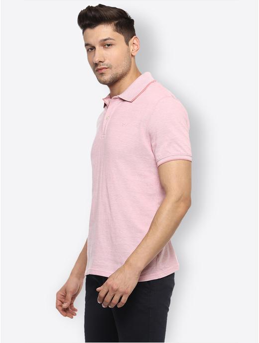 Pink Melange Polo T-Shirt