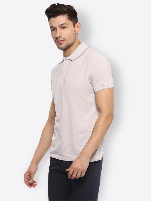 Beige Melange Polo T-Shirt