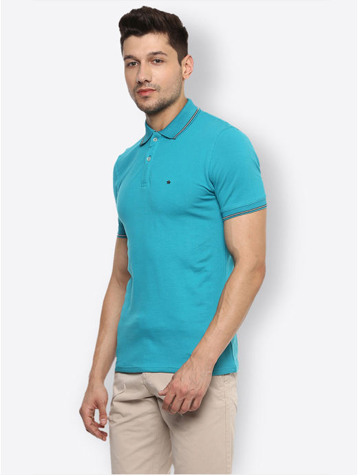 Blue Solid Polo T-Shirt