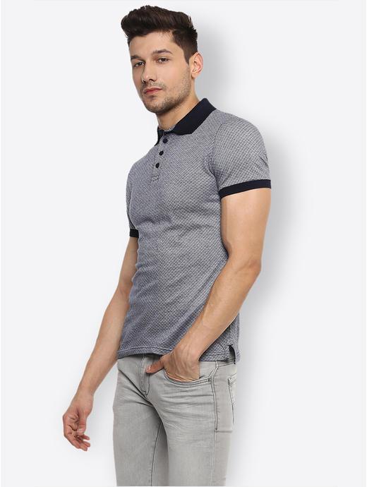 Grey Checked Polo T-Shirt