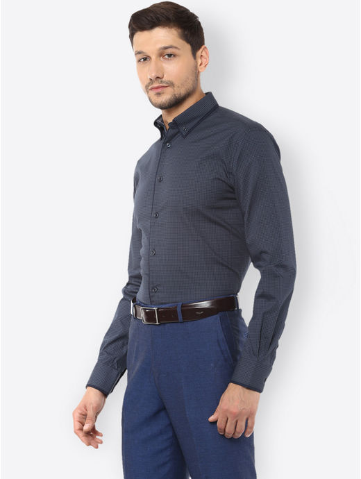 Blue and Grey Printed Formal Shirt
