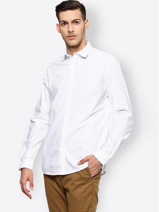 White Printed Casual Shirt
