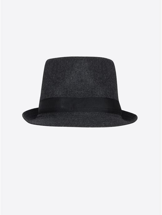Dark Grey Melange Fedora Hat