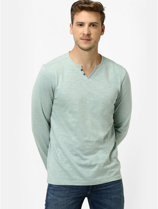Sea Green Melange Regular Fit T-Shirt
