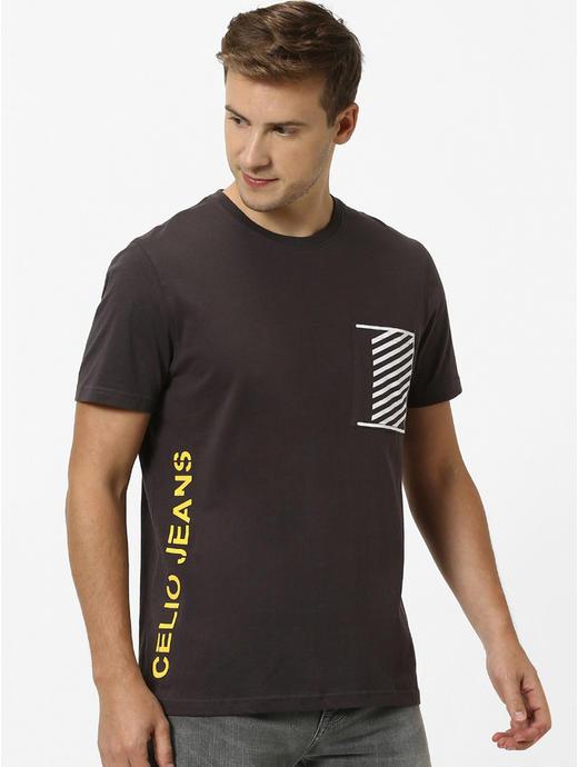 Brown Printed Regular Fit T-Shirt