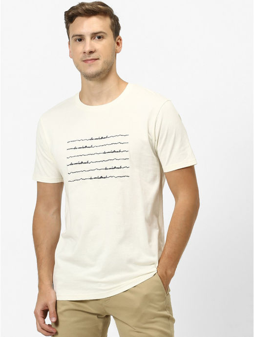 Optical White Printed Regular Fit T-Shirt