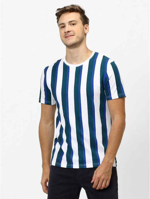 White and Blue Striped Regular Fit T-Shirt