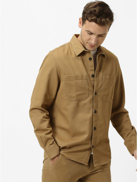 Beige Solid Regular Fit Casual Shirt