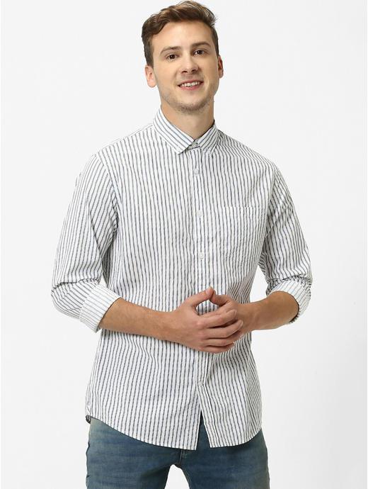 Light Grey Striped Regular Fit Casual Shirt