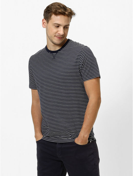 Navy Striped Regular Fit T-Shirt