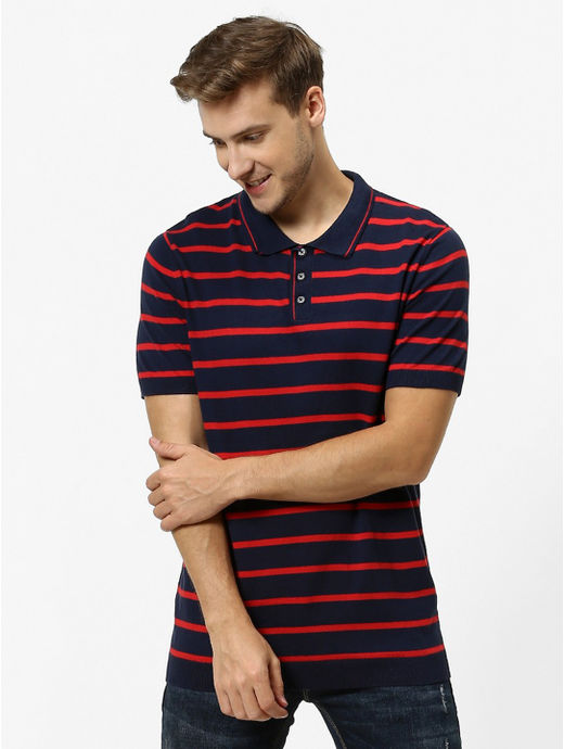 Navy Striped Straight Fit Polo T-Shirt