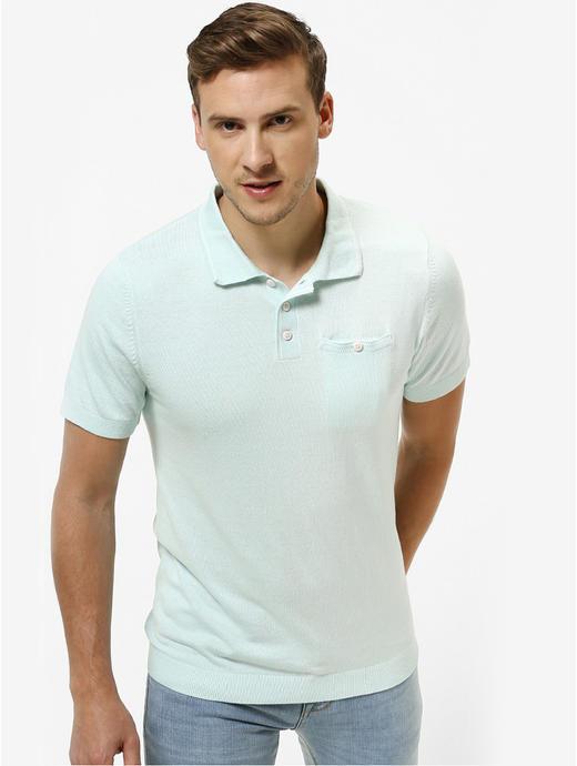 Aqua Solid Straight Fit Polo T-Shirt